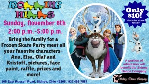 Skate with the Frozen characters at Rolling Hills Skate.